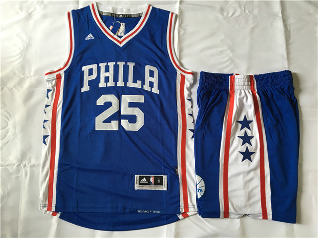 76ers 25 Ben Simmons Blue Swingman Jersey(With Shorts)