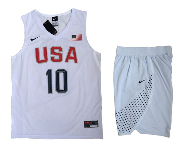 USA 10 Kyrie Irving White 2016 Olympic Basketball Team Jersey(With Shorts)