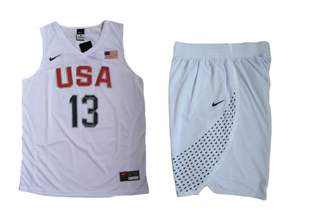 USA 13 Paul George White 2016 Olympic Basketball Team Jersey(With Shorts)