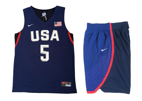 USA 5 Kevin Durant Navy 2016 Olympic Basketball Team Jersey(With Shorts)