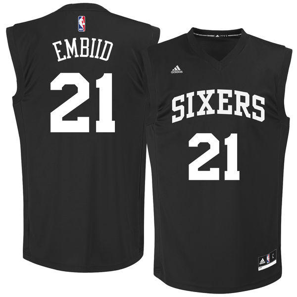 76ers 21 Joel Embiid Black Chase Fashion Replica Jersey