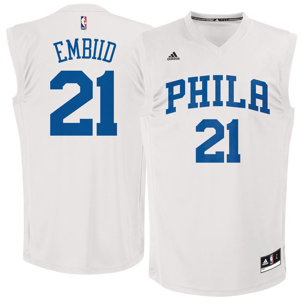 76ers 21 Joel Embiid White Fashion Replica Jersey