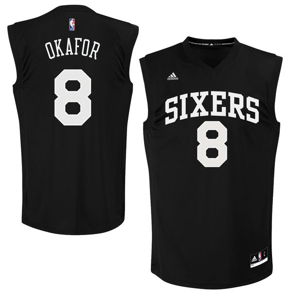 76ers 8 Jahlil Okafor Black Fashion Replica Jersey