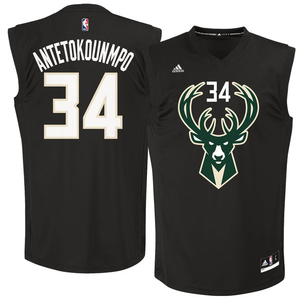 Bucks 34 Giannis Antetokounmpo Black Fashion Replica Jersey