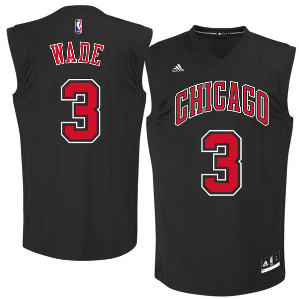 Bulls 3 Dwayne Wade Black Fashion Replica Jersey