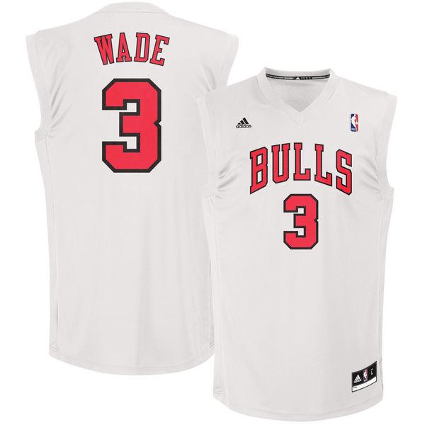 Bulls 3 Dwayne Wade White Fashion Replica Jersey