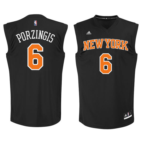 Knicks 6 Kristaps Porzingis Black Fashion Replica Jersey
