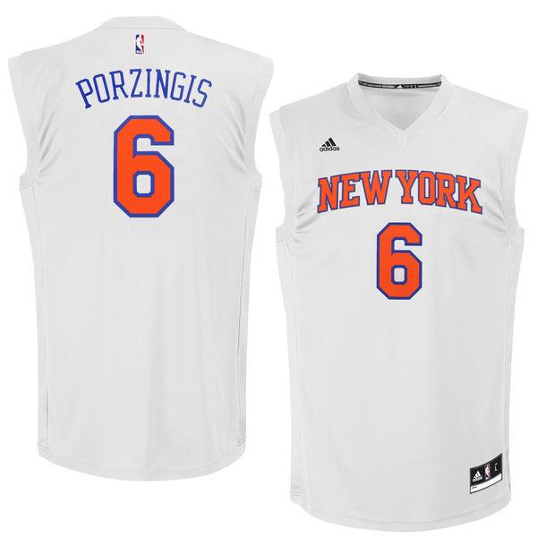 Knicks 6 Kristaps Porzingis White Chase Fashion Replica Jersey