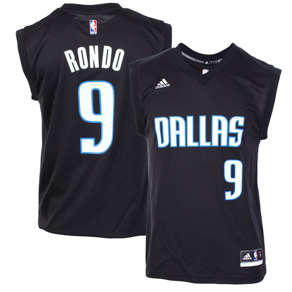 Mavericks 9 Rajon Rondo Black Fashion Replica Jersey