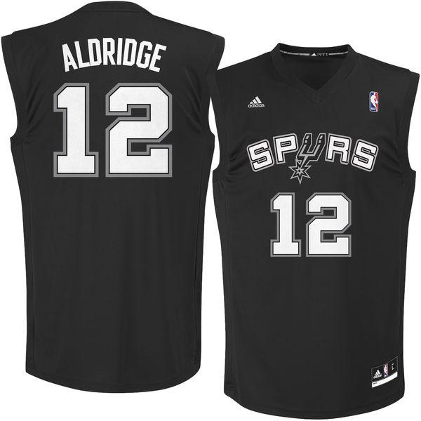 Spurs 12 LaMarcus Aldridge Black Fashion Replica Jersey
