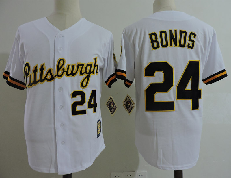 Pirates 24 Barry Bonds White Cooperstown Collection Jersey