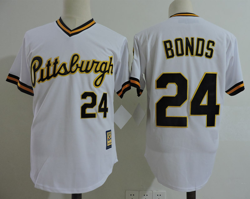 Pirates 24 Barry Bonds White Cooperstown Collection Player Jersey