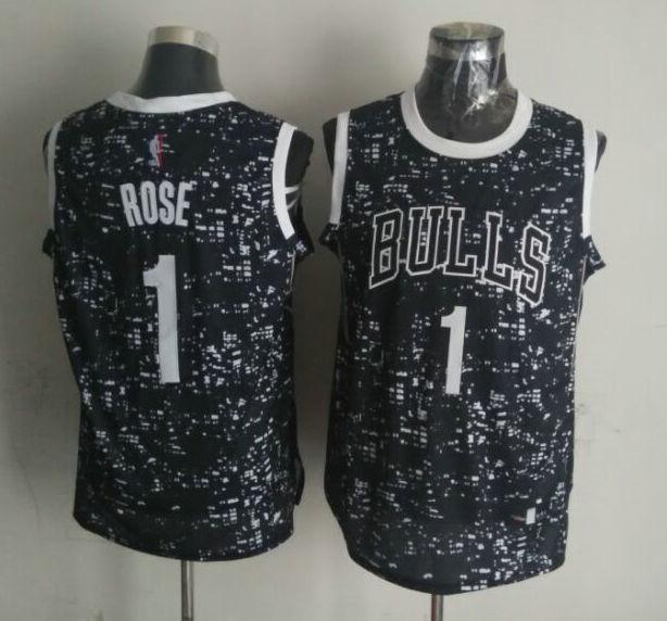 Bulls 1 Derrick Rose Black City Luminous Jersey