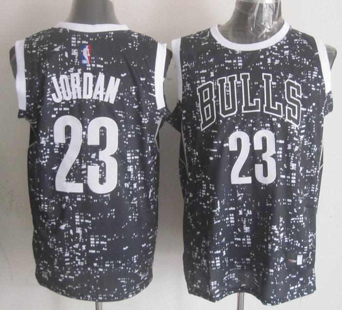 Bulls 23 Michael Jordan Black City Luminous Jersey