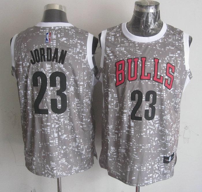 Bulls 23 Michael Jordan Gray City Luminous Jersey