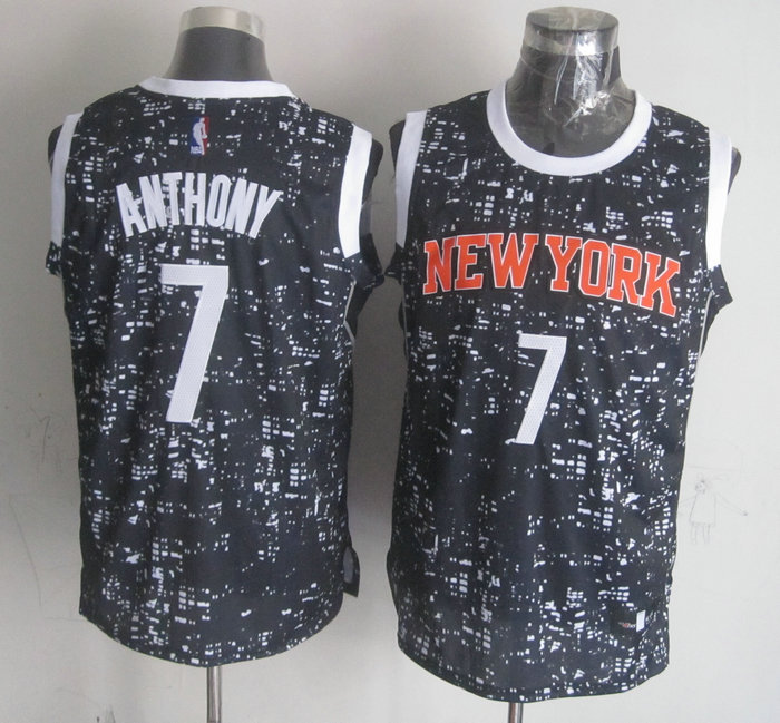 Knicks 7 Carmelo Anthony Black City Luminous Jersey