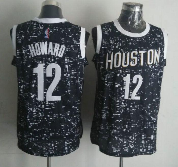 Rockets 12 Dwight Howard Black City Luminous Jersey