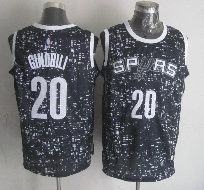 Spurs 20 Manu Ginobili Black City Luminous Jersey