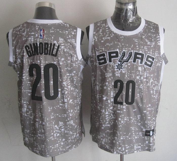 Spurs 20 Manu Ginobili Gray City Luminous Jersey