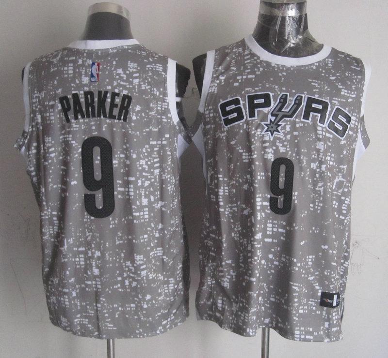 Spurs 9 Tony Parker Gray City Luminous Jersey