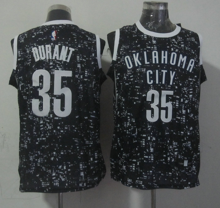 Thunder 35 Kevin Durant Black City Luminous Jersey
