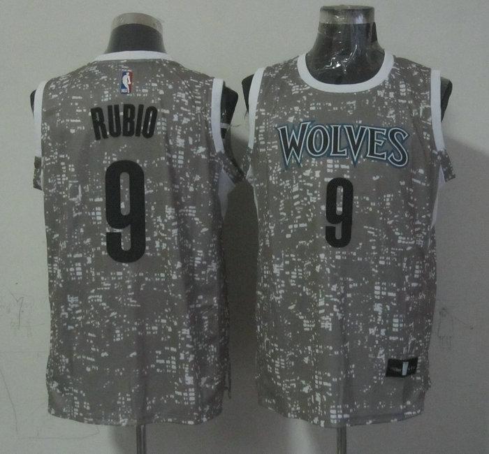 Timberwolves 9 Ricky Rubio Gray City Luminous Jersey