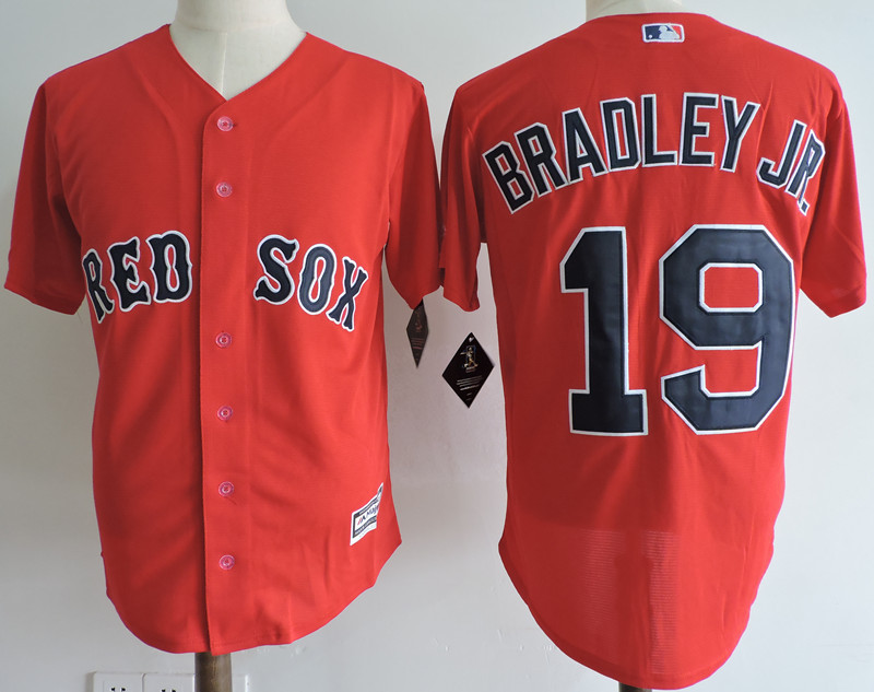 Red Sox 19 Jackie Bradley Jr. Red Cool Base Jersey
