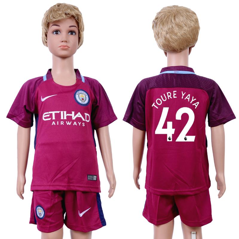 2017-18 Manchester City 42 TOURE YAYA Away Youth Soccer Jersey