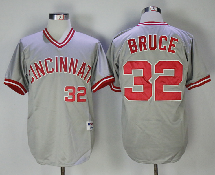 Reds 32 Jay Bruce Gray Throwback Jersey