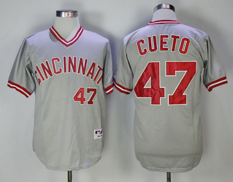 Reds 47 Johnny Cueto Gray Throwback Jersey