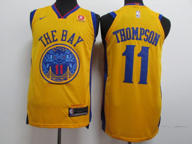 Warriors 11 Klay Thompson Gold City Edition Authentic Jersey