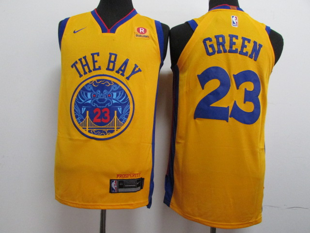Warriors 23 Draymond Green Gold City Edition Authentic Jersey