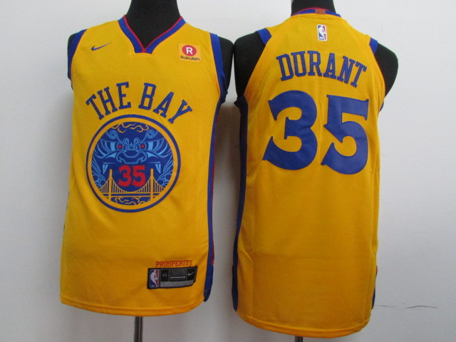 Warriors 35 Kevin Durant Gold City Edition Authentic Jersey