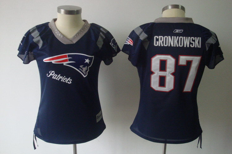 Patriots 87 Rob Gronkowski Navy Throwback Field Flirt Women Jersey