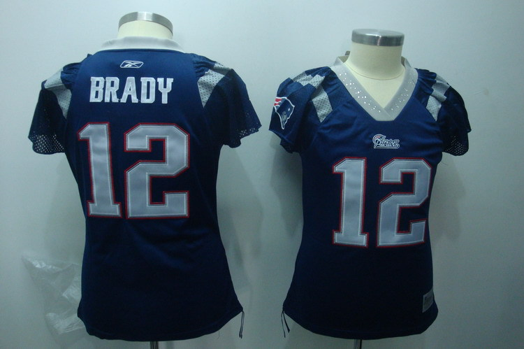 Patriots 12 Tom Brady Navy Field Flirt Women Jersey