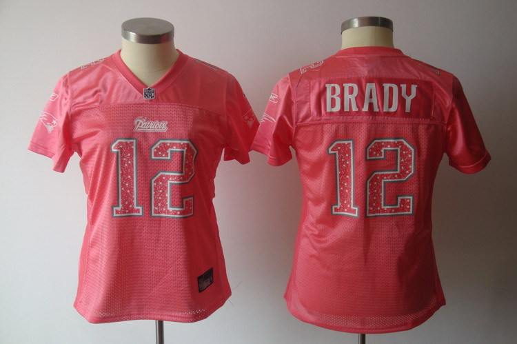 Patriots 12 Tom Brady Pink Women Jersey