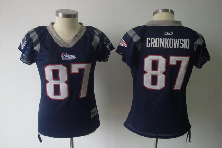 Patriots 87 Rob Gronkowski Navy Field Flirt Women Jersey