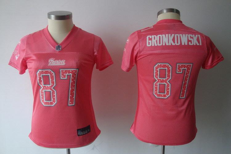 Patriots 87 Rob Gronkowski Pink Women Jersey