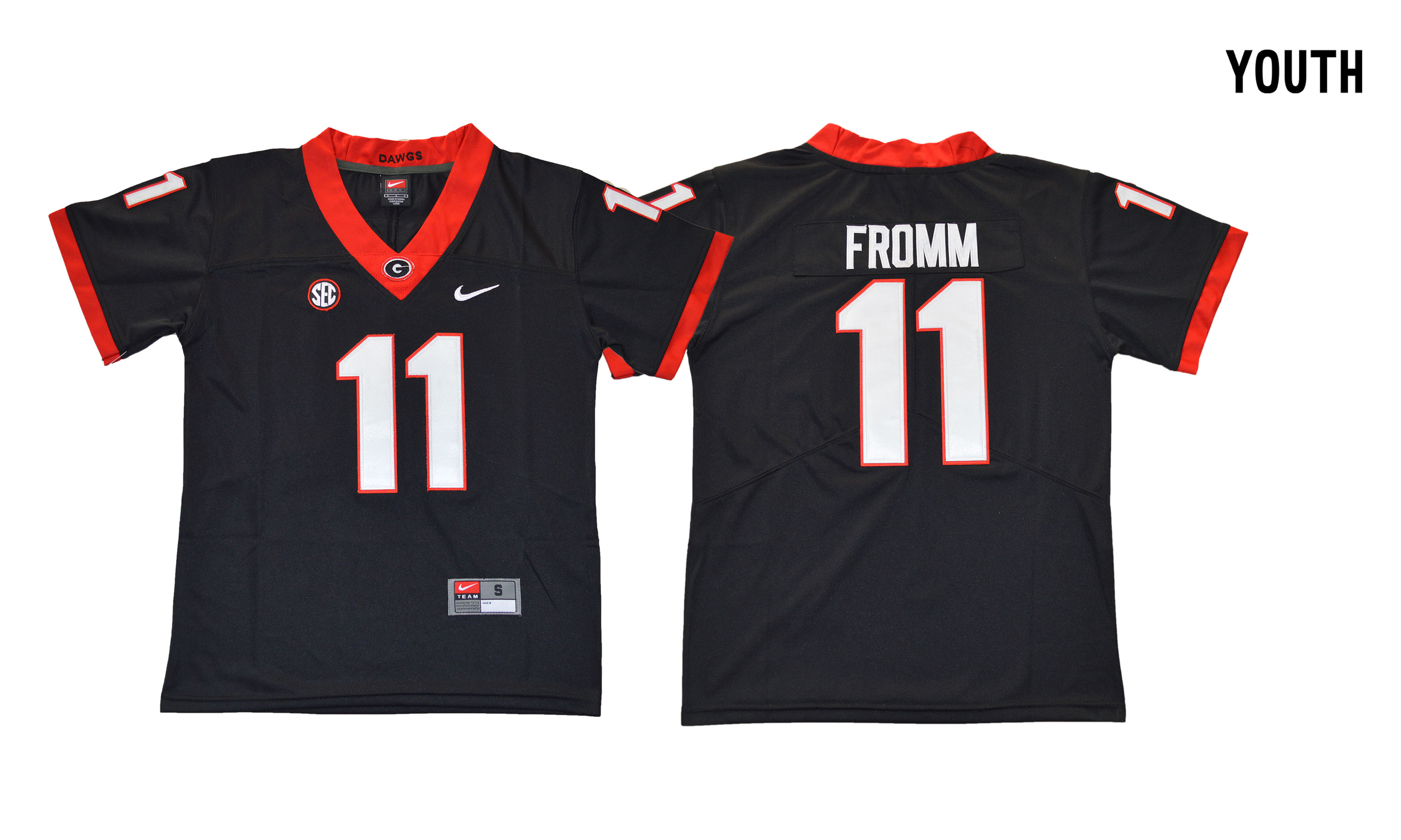 Georgia Bulldogs 11 Jake Fromm Black Youth College Football Jersey
