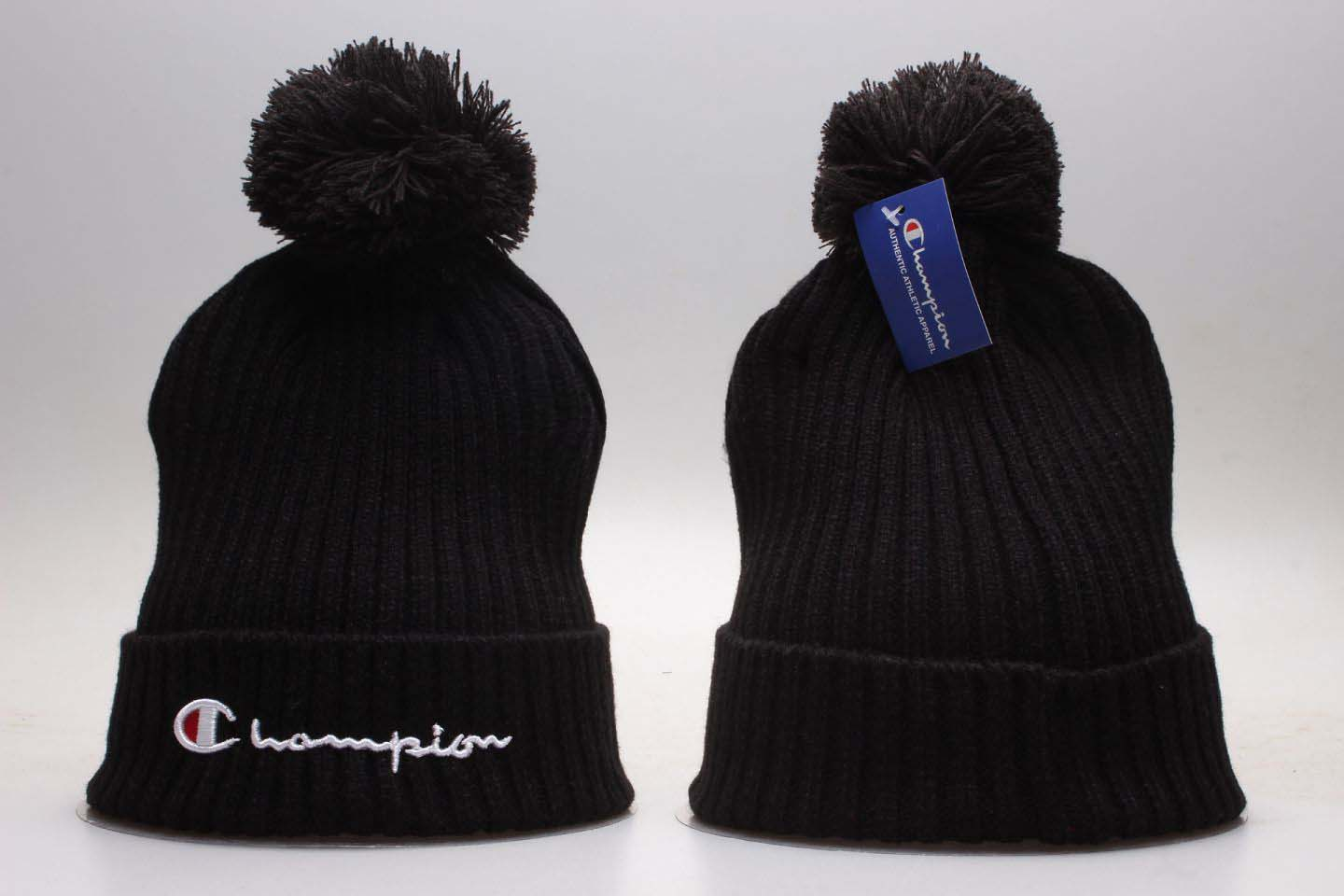 Champion Black Fashion Sport Pom Knit Hat YP