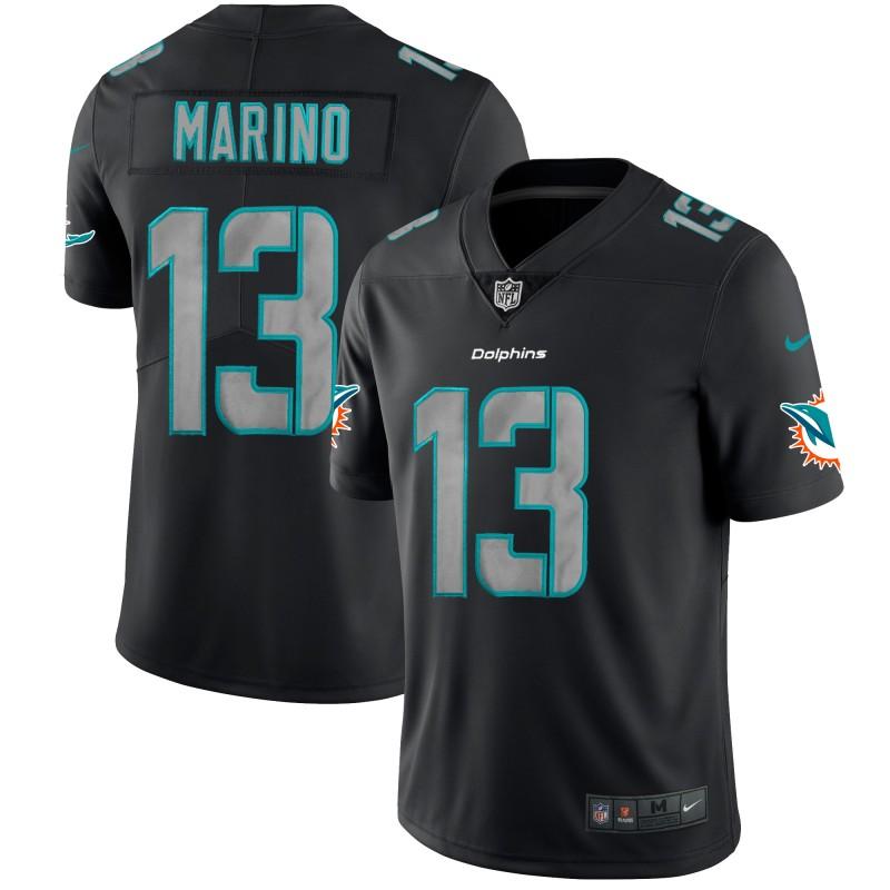 Nike Dolphins 13 Dan Marino Black Impact Rush Limited Jersey