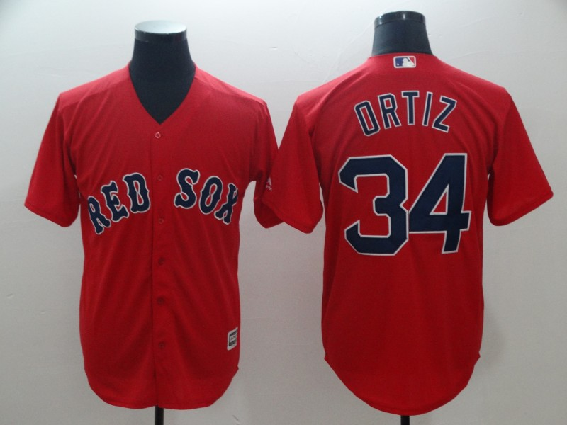 Red Sox 34 David Ortiz Red Cool Base Jersey