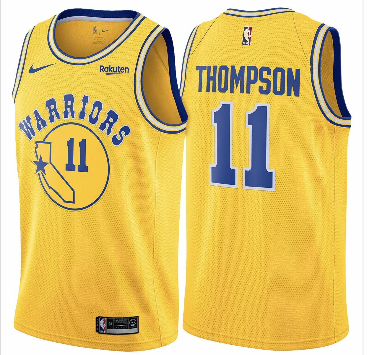 Warriors 11 Klay Thompson Yellow Throwback Nike Swingman Jersey