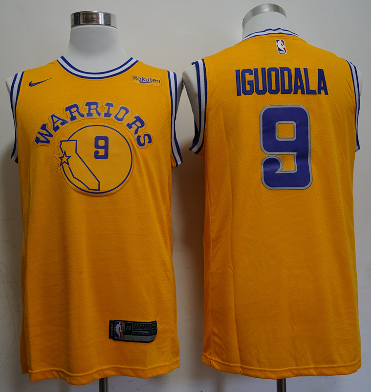 Warriors 9 Andre Iguodala Yellow Throwback Nike Swingman Jersey