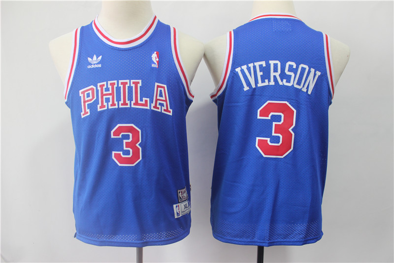 76ers 3 Allen Iverson Blue Youth Hardwood Classics Jersey