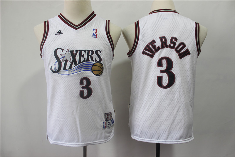 76ers 3 Allen Iverson White Youth Hardwood Classics Jersey