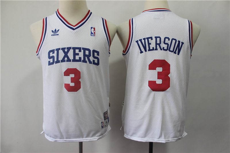 76ers 3 Allen Iverson White Youth Hardwood Classics Throwback Jersey