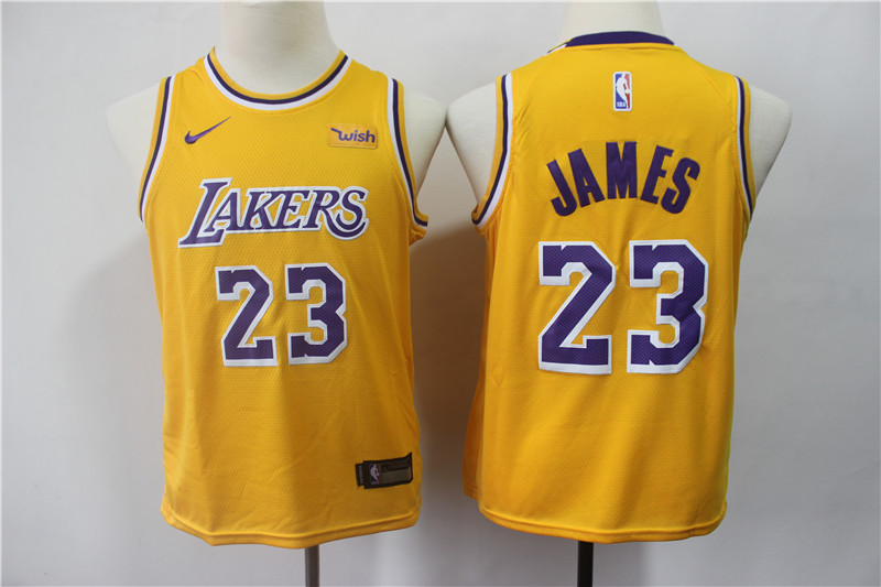 Lakers 23 Lebron James Gold Youth 2019 Nike Swingman Jersey