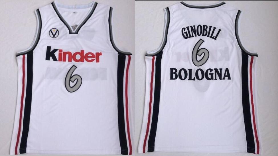 Virtus Pallacanestro Bologna 6 Manu Ginobili White Basketball Jersey