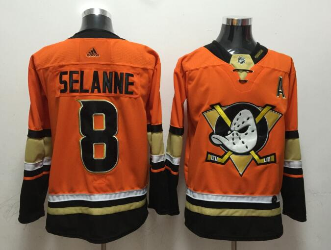 Ducks 8 Teemu Selanne Orange Adidas Jersey